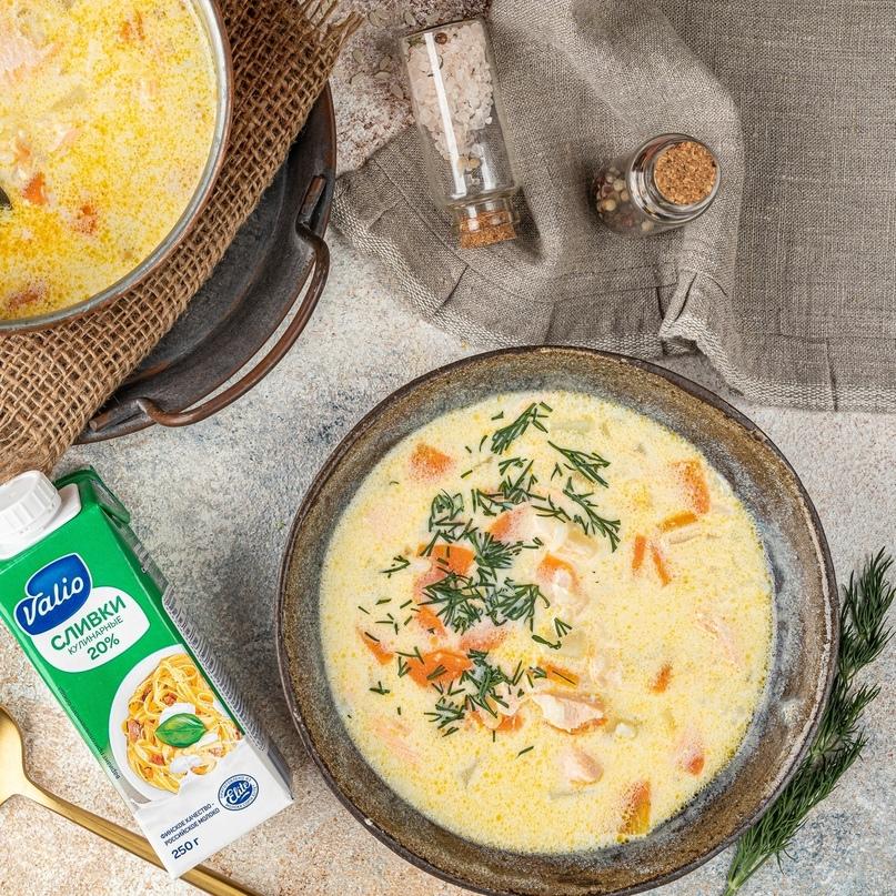 Рыбный суп с рисом и сливками 🥣