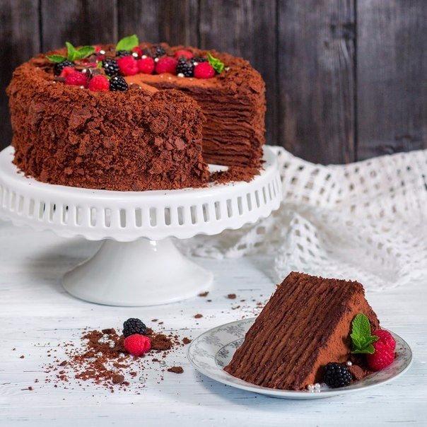 """Торт """"Наполеон"""" горький шоколад-эспрессо-миндаль."""