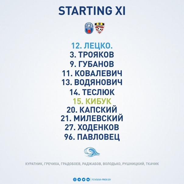 Стартовый состав нашей команды на предстоящий матч!