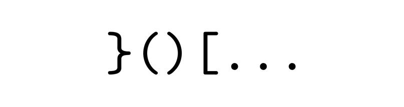Пример скобочной последовательности, у которой первая правая скобка находится на первой позиции.