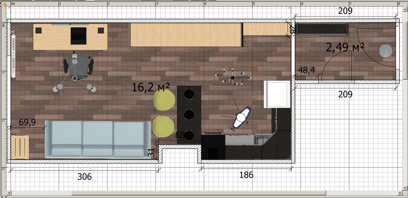 Планирую делать ремонт в студии 21,5 кв.