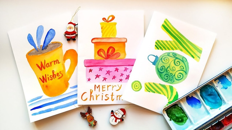 DIY Christmas Cards - Watercolor Painting Tutorial \ Holidays Card Ideas