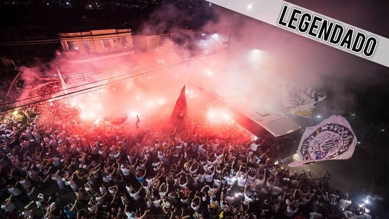 Torcida do Santos cantando o hino do clube durante ruas de fogo 26 07 2017
