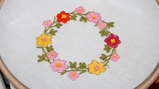 hand embroidery beautiful flower design, simple hand stitch for cushion coverplow cover design02