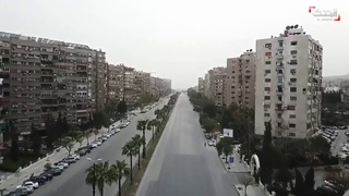 AERIAL VIDEO OF THE THIRD DAY OF CURFEW IN DAMASCUS DUE  TO CORONAVIRUS