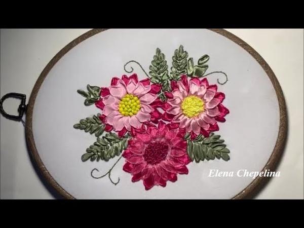 Красивые и простые цветы из ленты Мастер класс по вышивке лентами