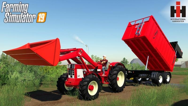 Farming Simulator 19 INTERNATIONAL 46 SERIES Tractor Loader Unloads Corn