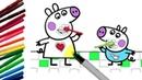Раскраска ПЕППА и ДЖОРДЖ ЧИСТЯТ ЗУБЫ из мультика СВИНКА ПЕППА КАЛЯКА-МАЛЯКА ТВ