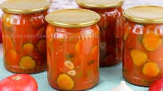 🥒🍅Вкусные хрустящие огурцы в томатном соусе на зиму! Огурцы в томатной заливке без стерилизации!