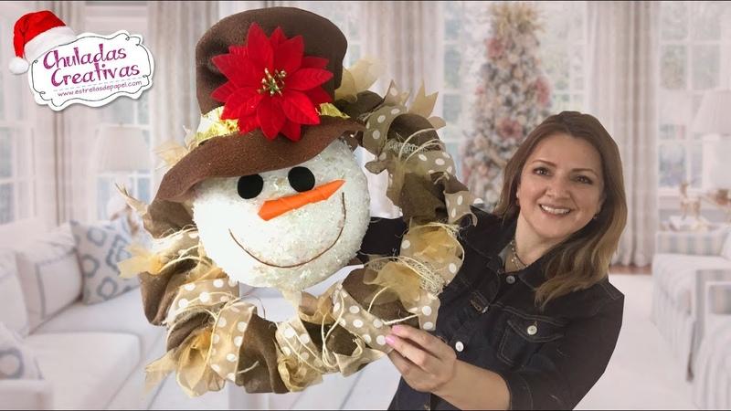 Corona Navideña Muñeco de Nieve :: Chuladas Creativas